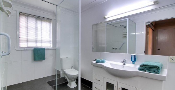 Studio bathroom with shower